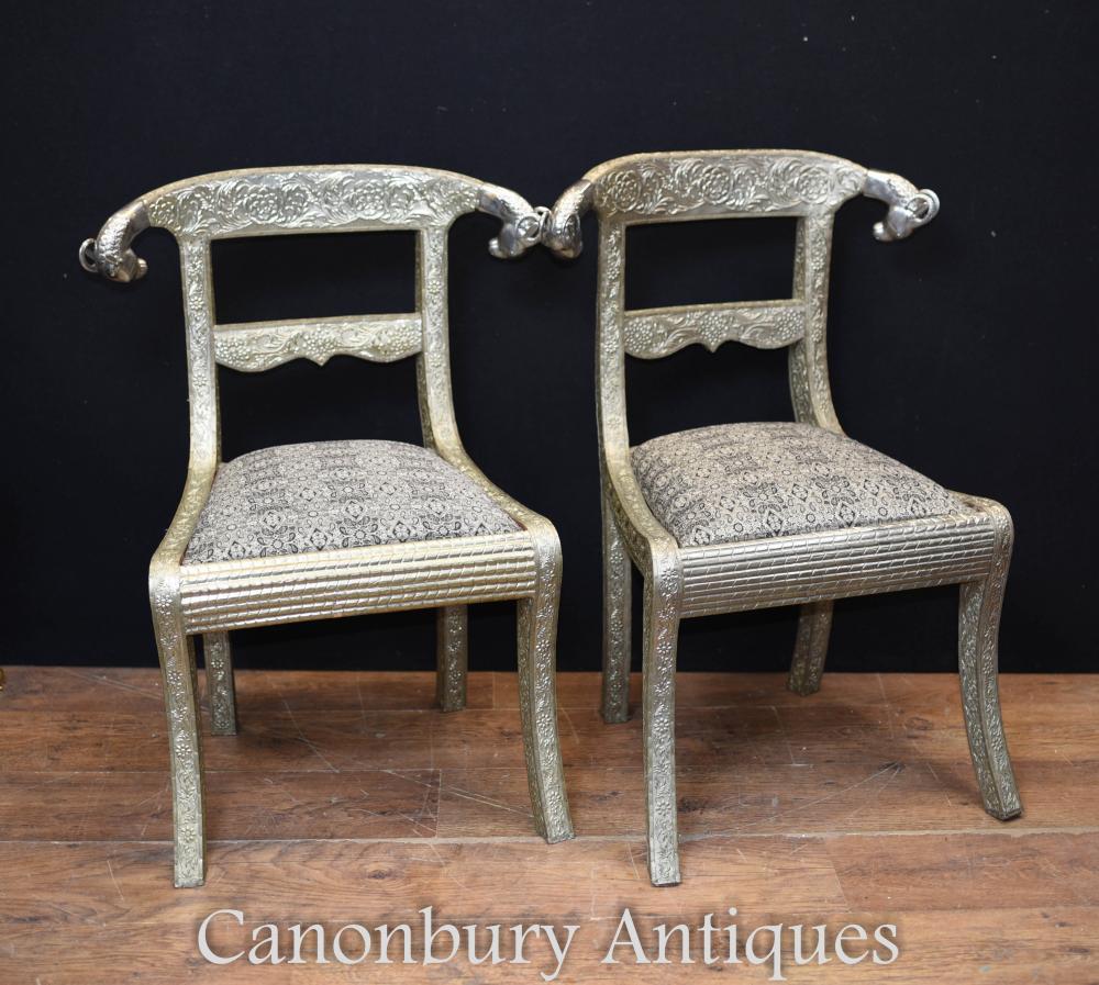 Pair Französisch Regency Silver Plate Stühle Sitze Rams Heads