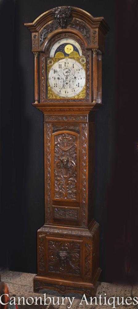 Viktorianischer Eichen-Großvater-Uhr-langer Kasten 1880