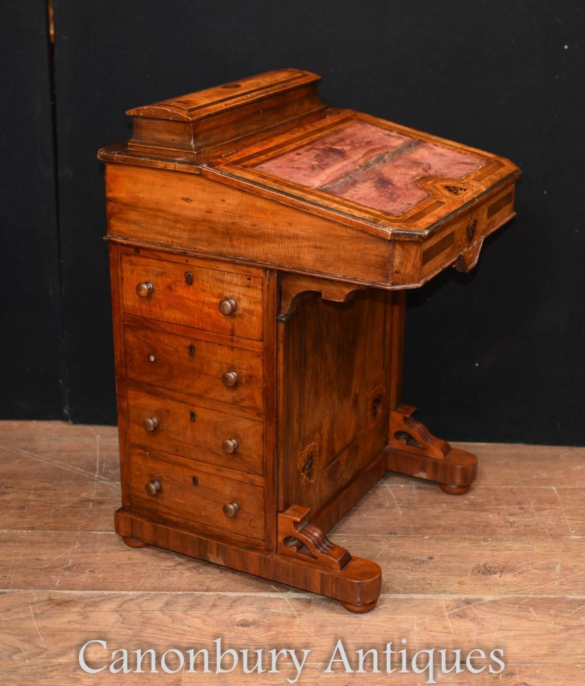 Antike viktorianische Davenport-Schreibtisch-Walnuss-Kästen