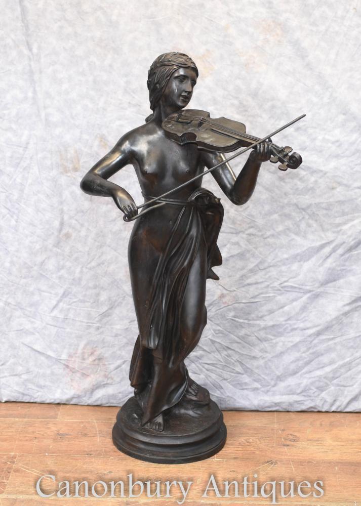 Französisch Bronze Semi Nude Female Geige Spieler Violine Statue