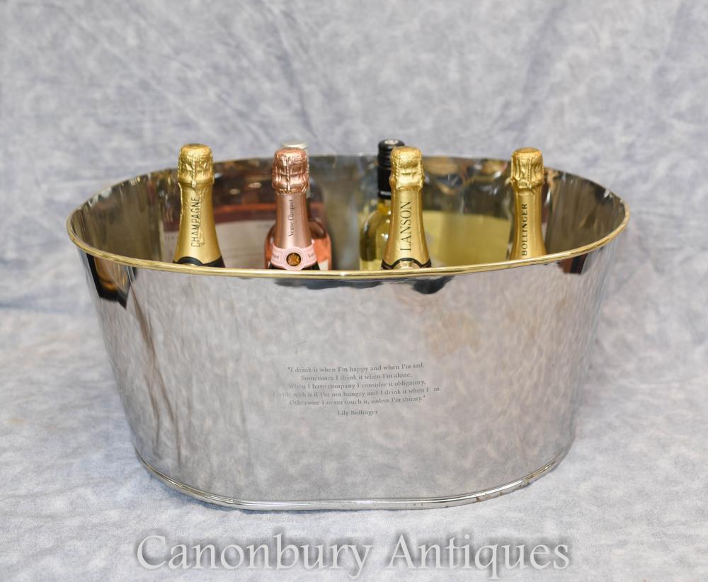 Französisch Silberteller Eiskübel Champagner Kühler Bollinger