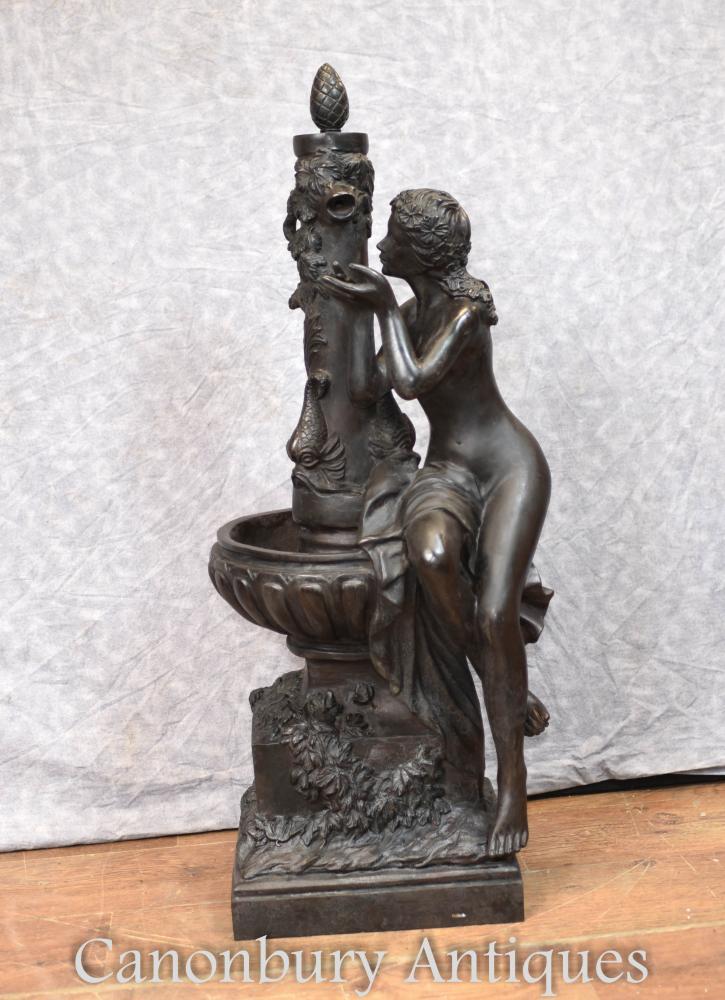 Französischer Bronzebrunnen-weiblicher Figürchen-Architekturgarten-Skulptur