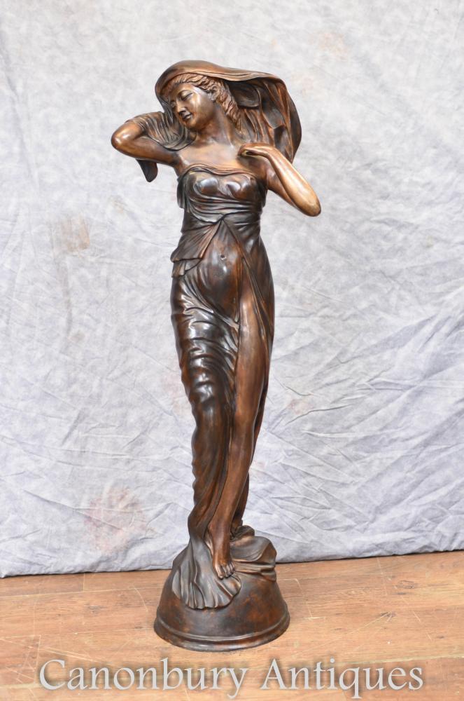Große französische Jugendstil Bronze weibliche Statue Figur