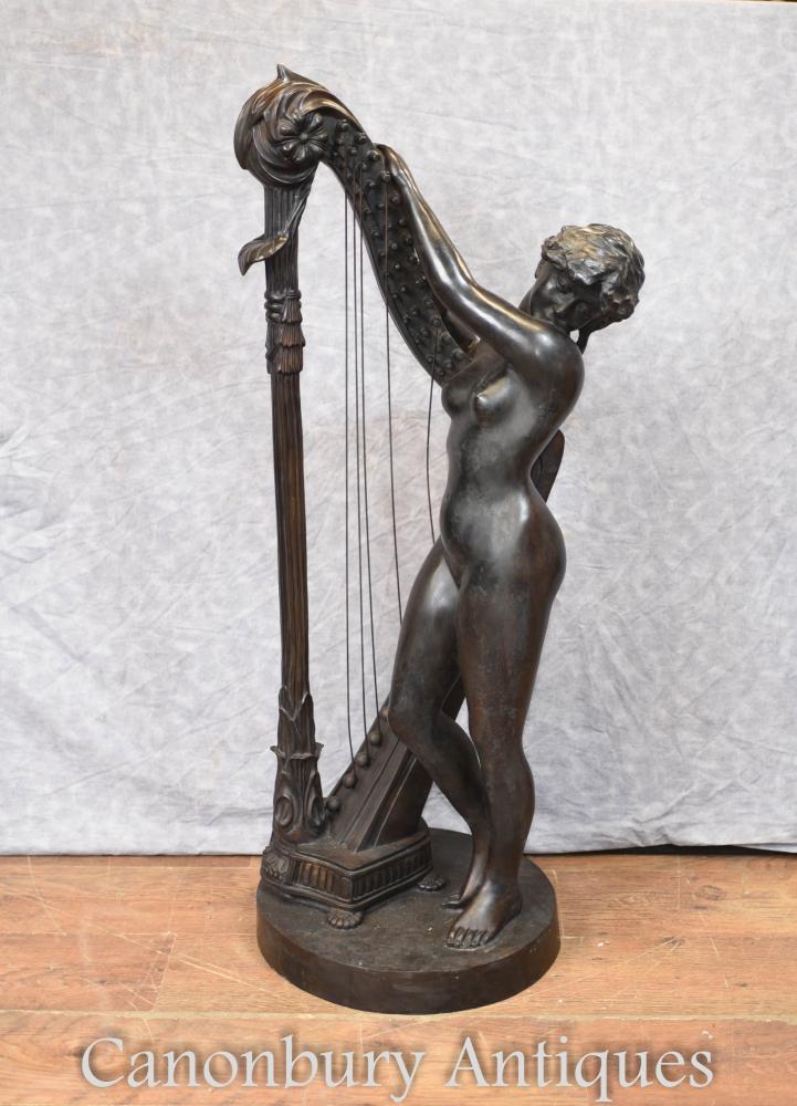 Italienische Bronze Nackte Weibliche Harfe Spieler Klassische Kunst
