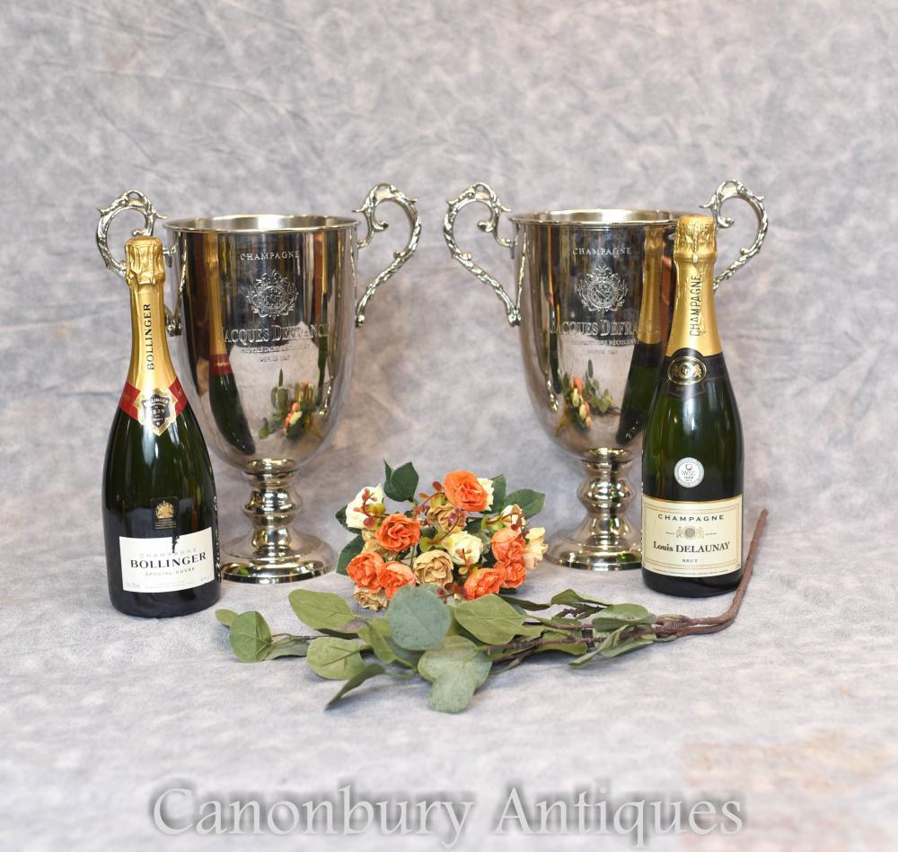 Paar Französisch Silber Teller Champagner Eiskühler Eimer Trophy