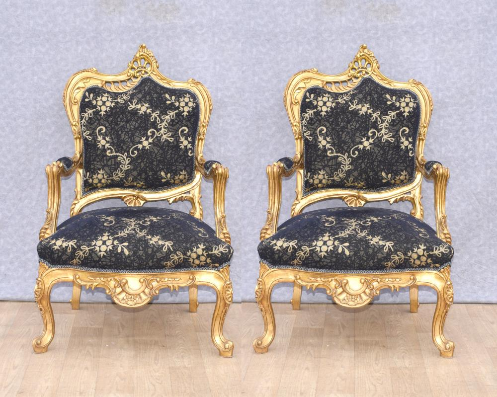 Paar Louis XVI vergoldete Sessel Fauteuils