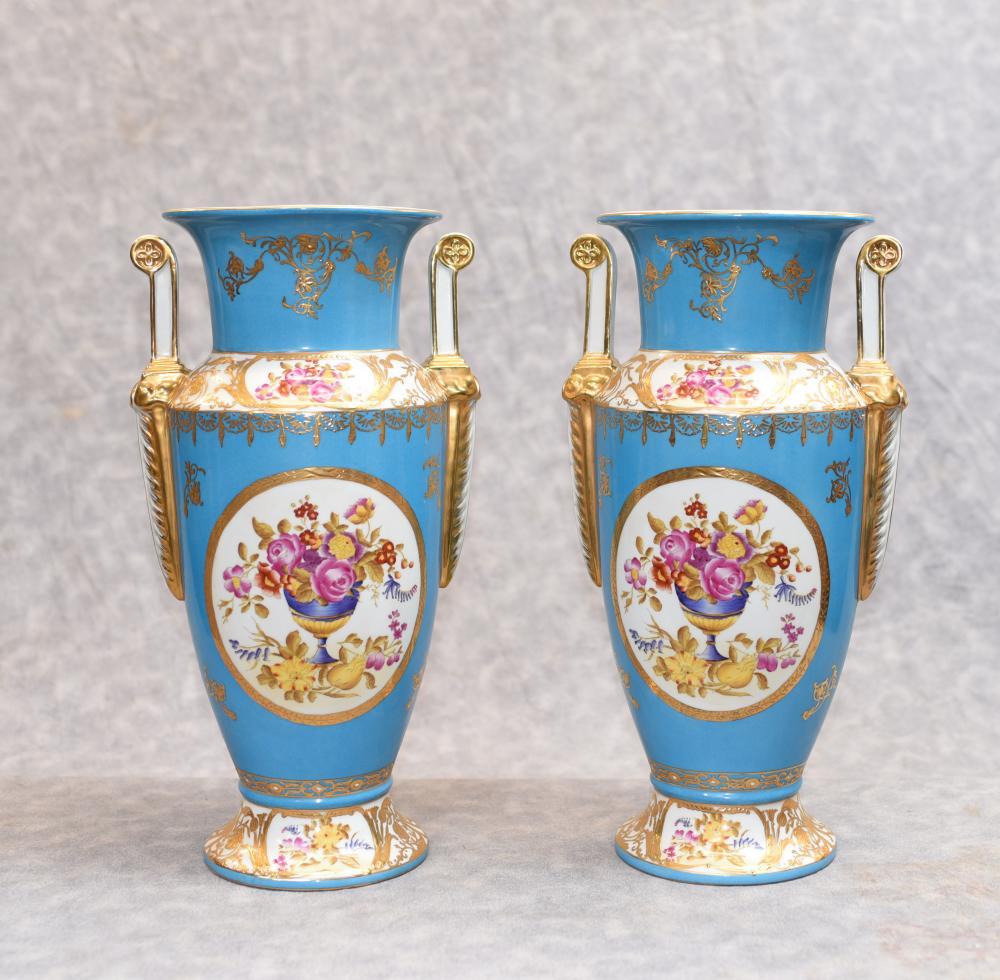 Paar Paris Sevres Floral Porzellan Vasen Urnen