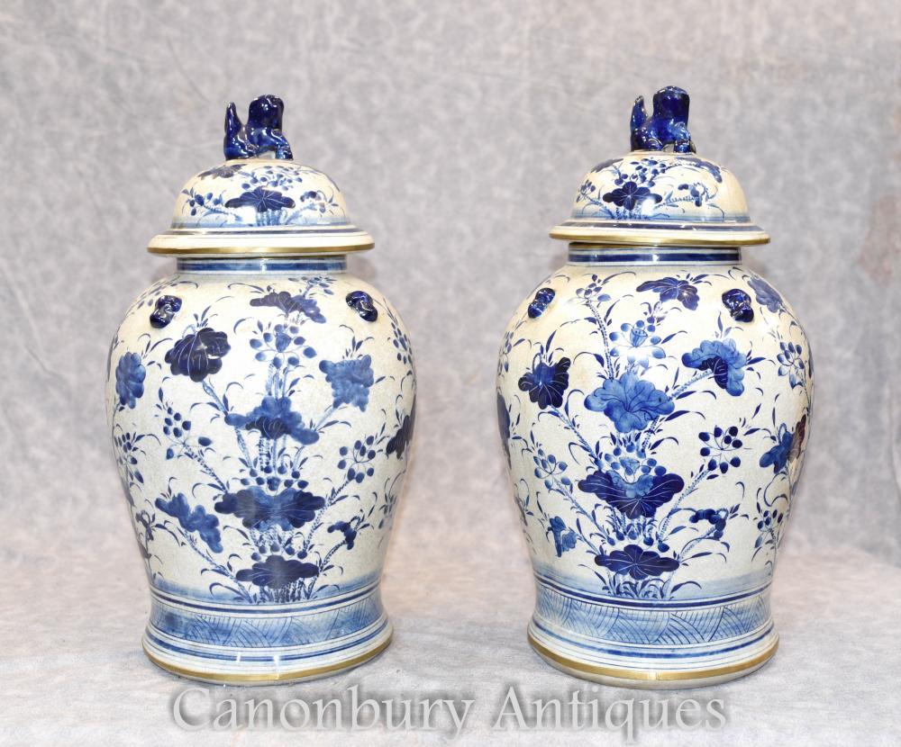 Paar chinesischen blauen und weißen Porzellan Ingwer Gläser Vasen Ming