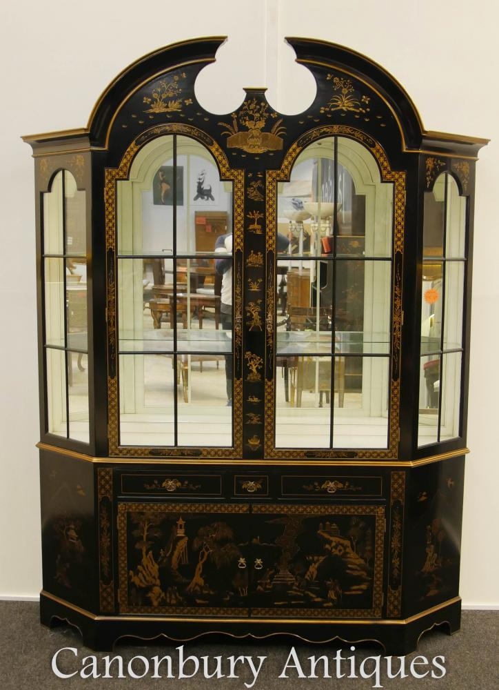 Regency Black Lack Vitrine Bücherregal Chinoiserie