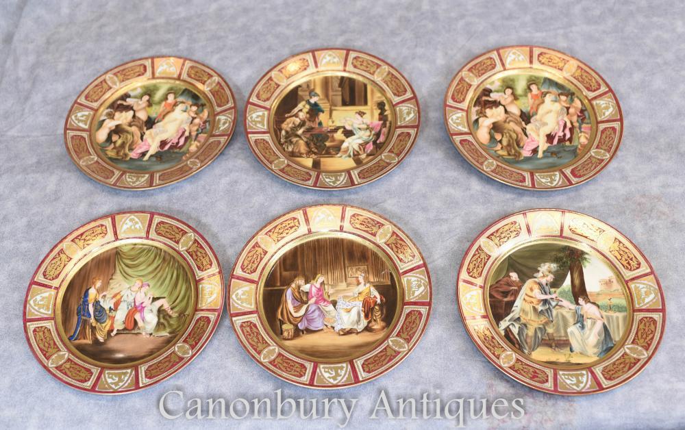 Set 6 Französisch JP Limoges Porzellanplatten Roman Toga Figuren Plaques