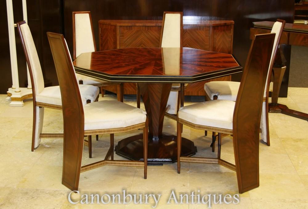 Art Deco Dining Set - Achteckiger Tisch und Stühle Suite