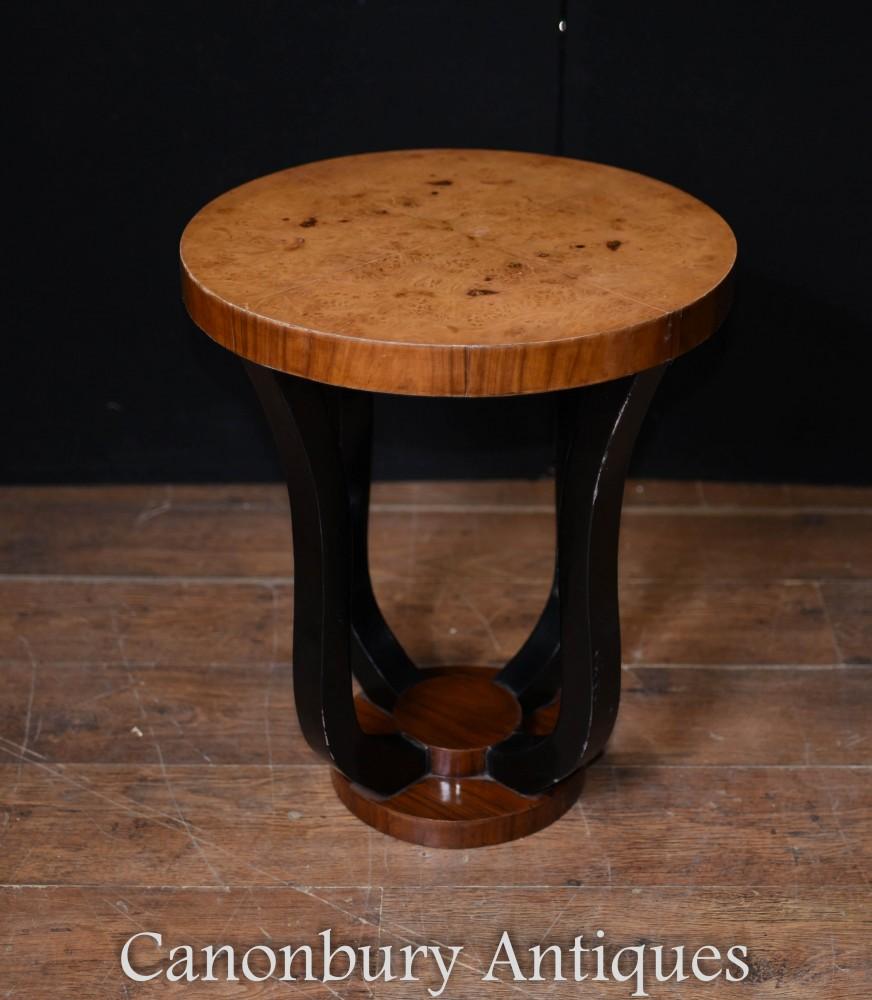 Einzel-Art Deco Beistelltisch - Vintage Nussbaum Tische