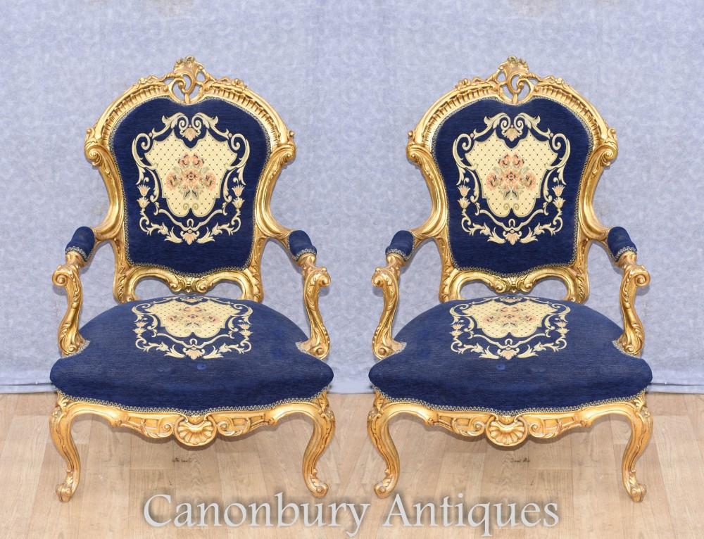 Französische Antike Sessel - Louis XVI Vergoldete Fautueils