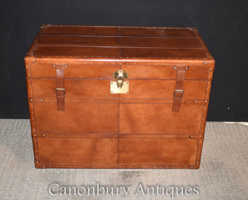 Koffer-Koffer-Koffer aus Leder - Beistelltischkorb