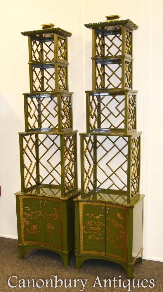 Paar Etuis aus chinesischem Lack Etagere - Chinoiserie Pagoda Shelf