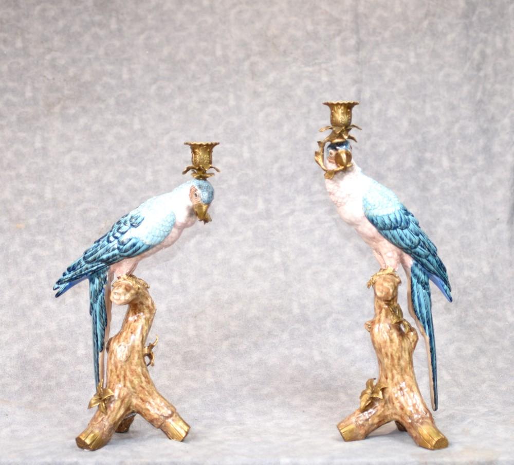 Paar Kandelaber - Französisch Porzellan und Gold Papagei Kerzenständer Kerzen