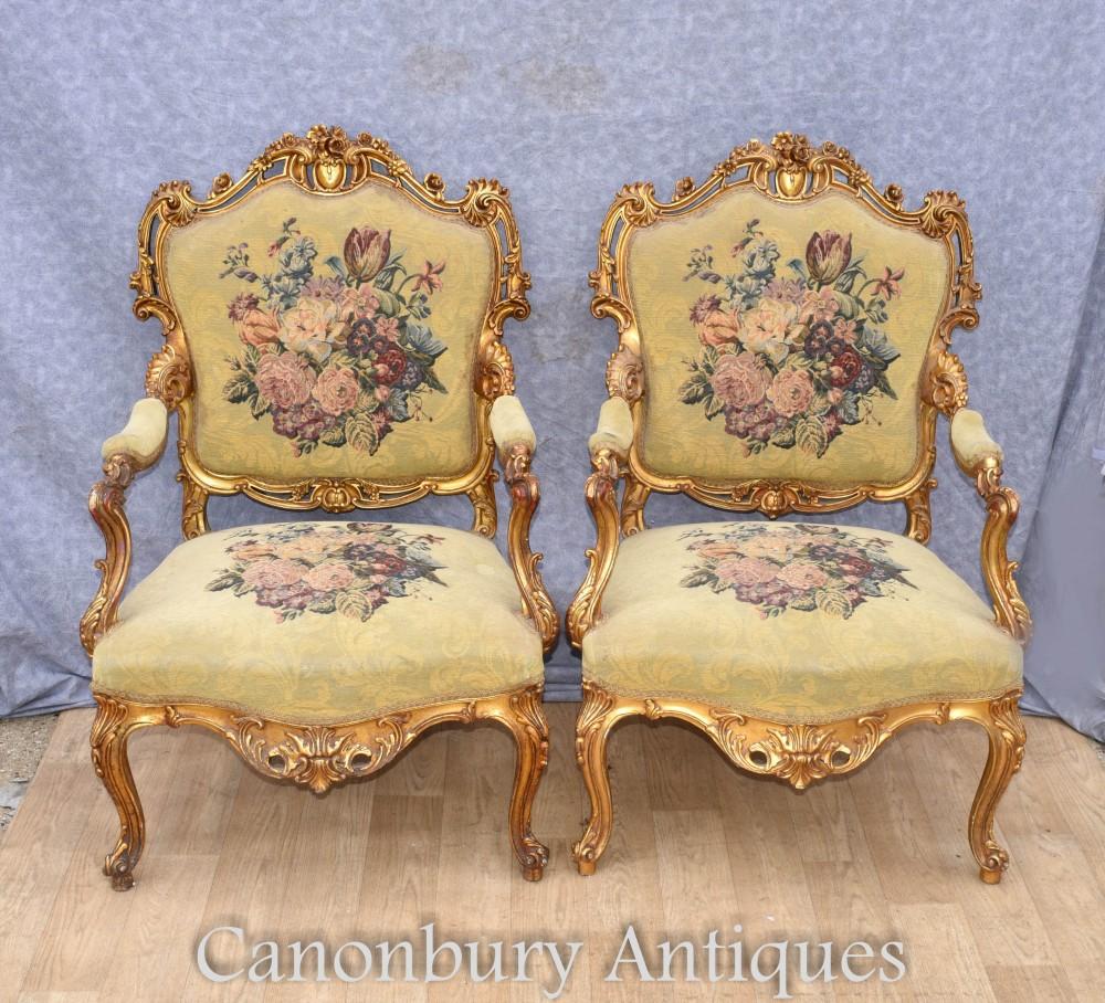 Paar Louis XVI vergoldete Sessel - französische Fautueils