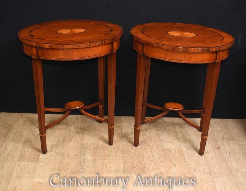 Paar Sheraton Beistelltische - Mahagoni Inlay Table