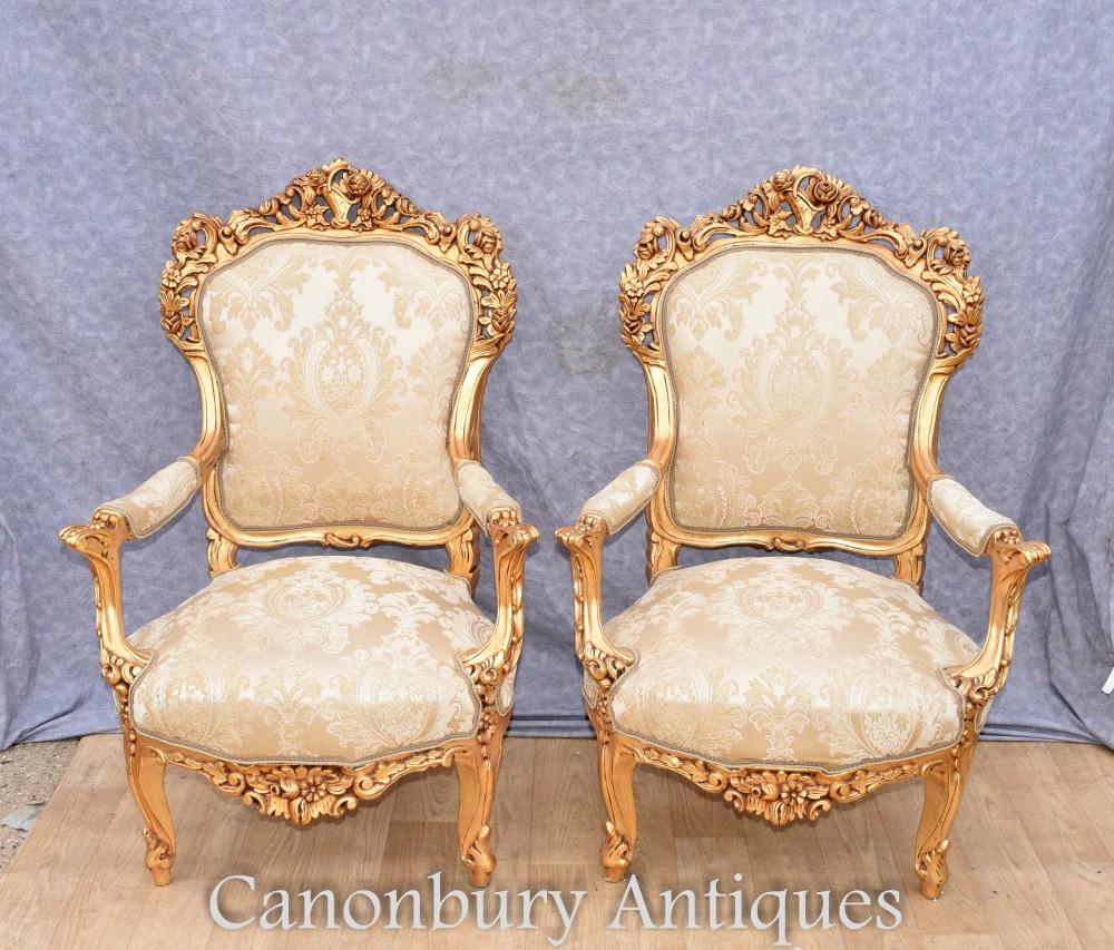 Paar vergoldete französische Sessel - Rokoko-Fautueils