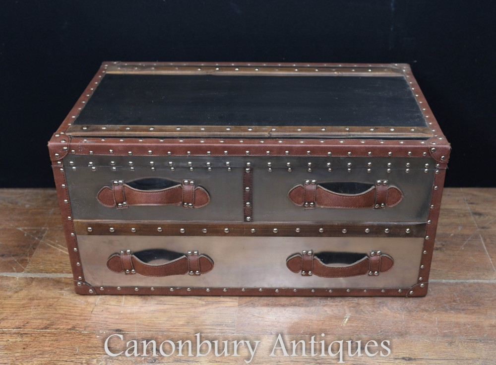 Aviator Gepäck-Koffer - Metal Steamer Box Case Beistelltisch