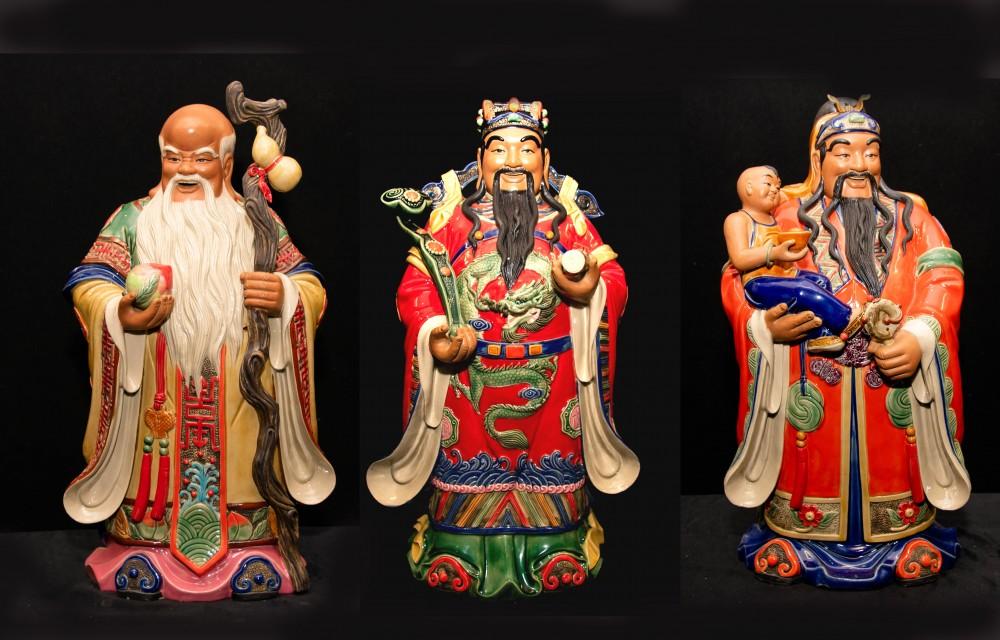 Drei chinesische Porzellanmenschen Fu Lu Shou - Qing China Sanxing