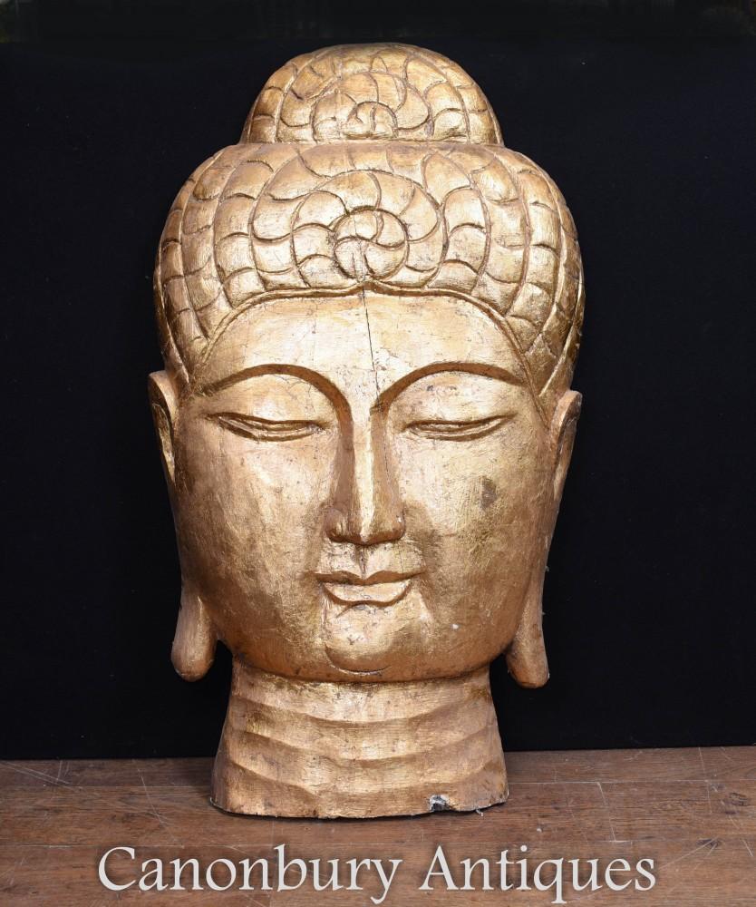Geschnitzte tibetische Buddha-Büste - Hand geschnitzte buddhistische Kunst-Skulptur