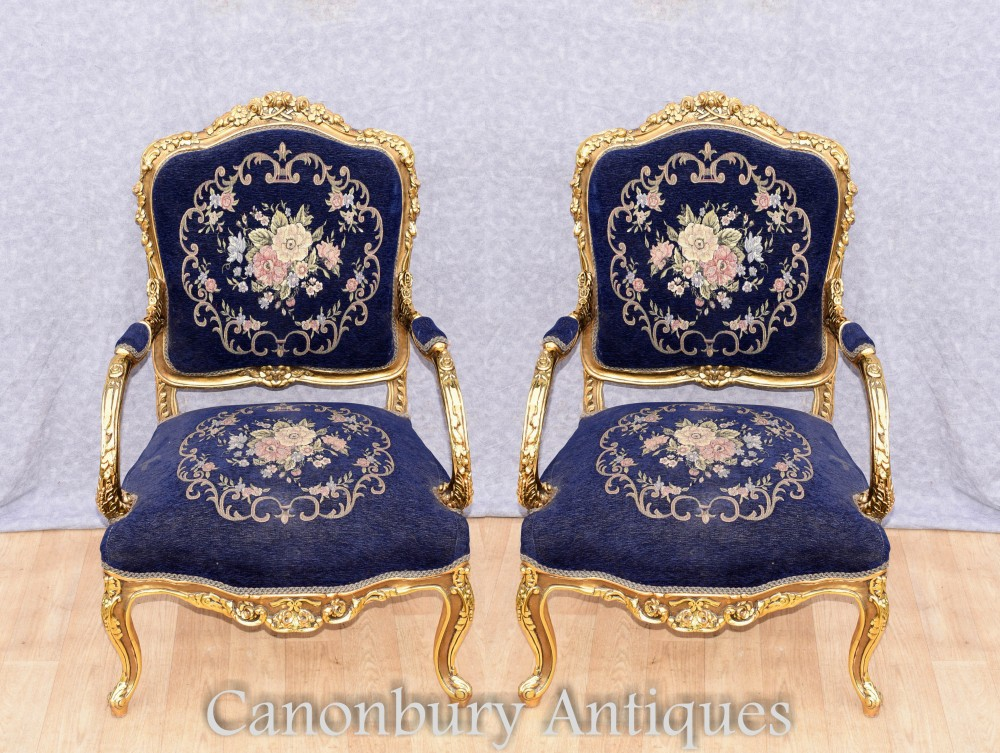 Paar Empire Gilt Armlehnstühle - französischer Akzent Fauteuils