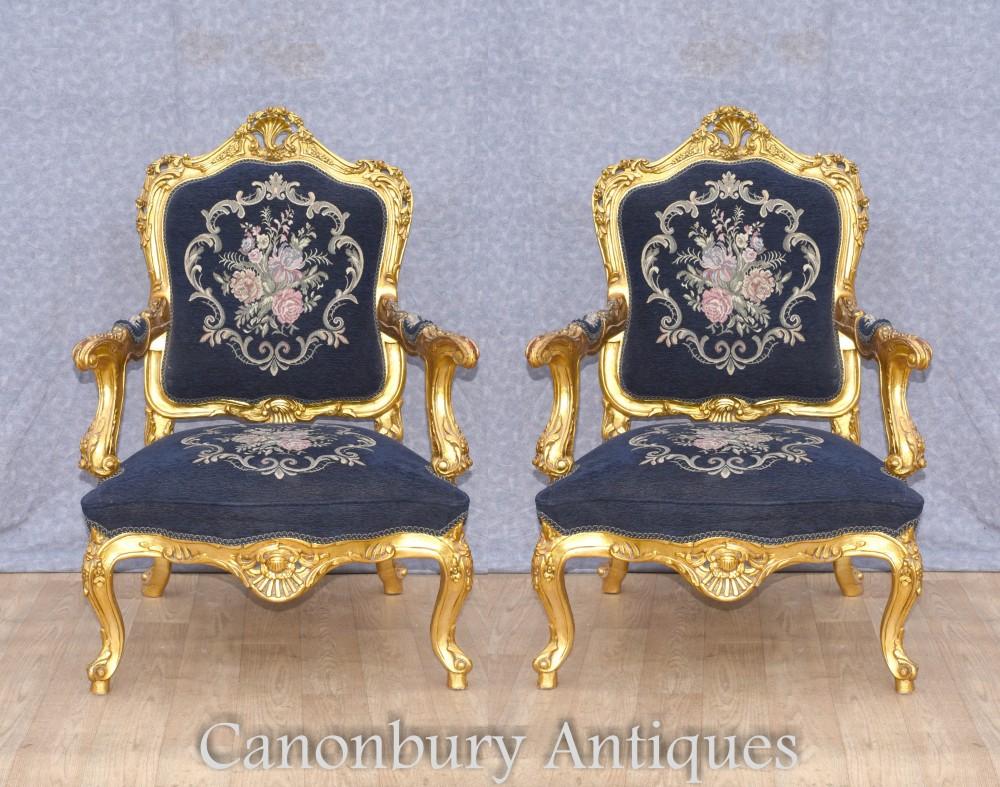 Paar Rokoko Armlehnstühle - Vergoldete französische Akzentsitze