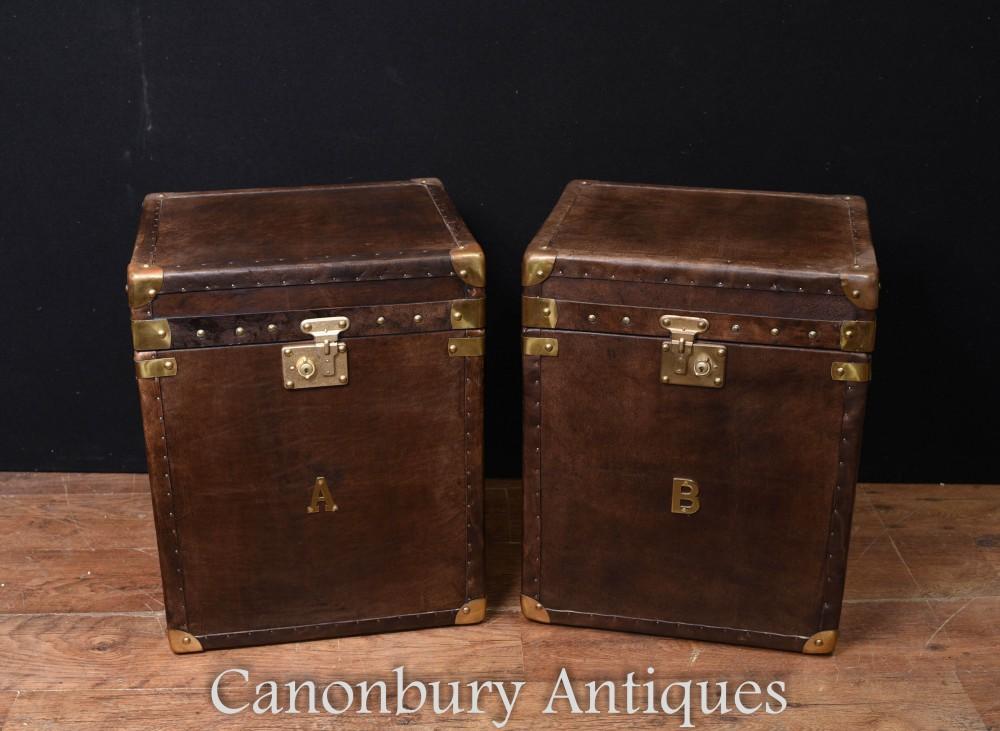Steamer Trunk Gepäckboxen - Paar Beistelltische aus Leder