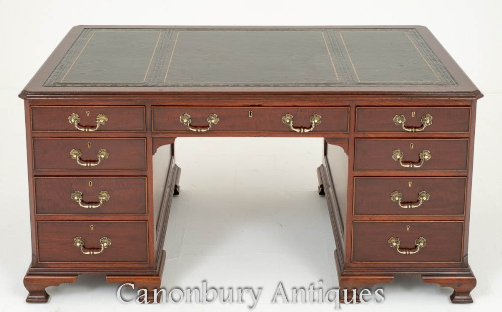 Chippendale Partners Desk in Mahagoni um 1880