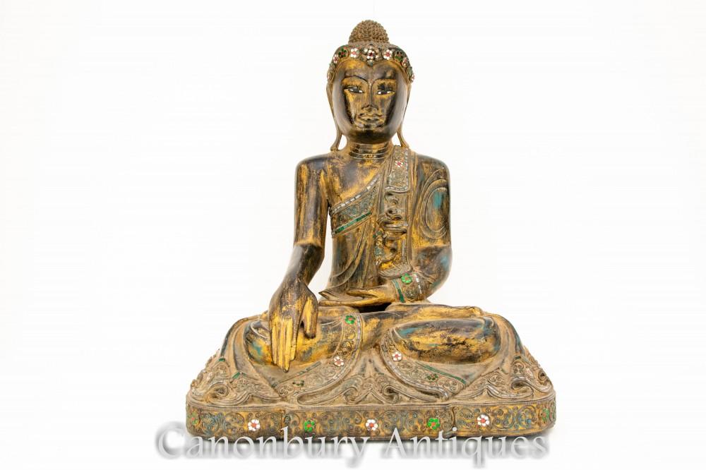 Geschnitzte Buddha-Statue - nepalesische Meditations-buddhistische Skulptur