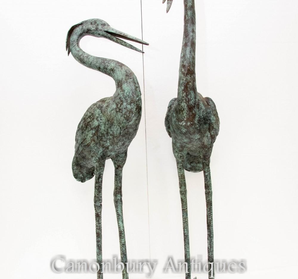 Paar Bronzereiher-Statuen - japanische Vogelskulpturen