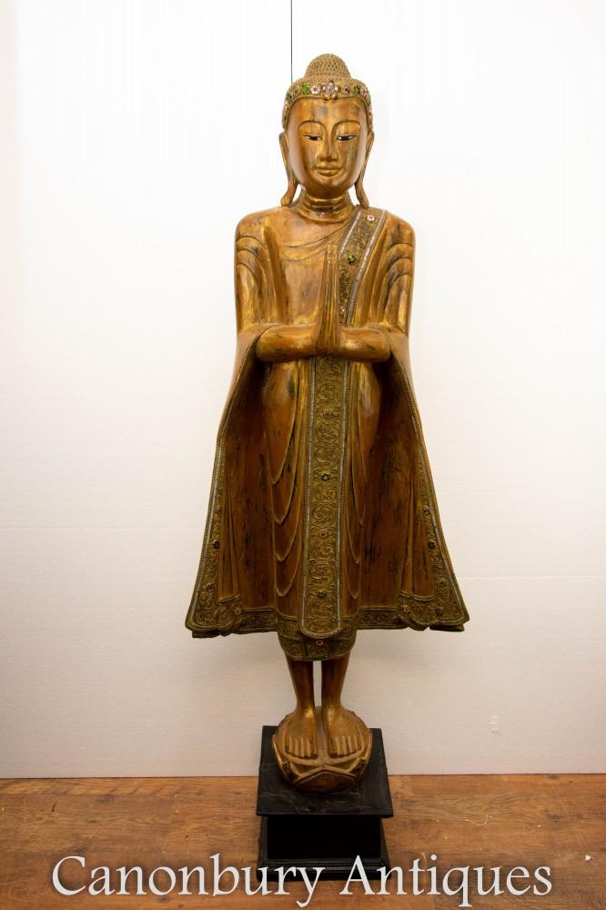 Stehende tibetanische Buddha-Statue - betende buddhistische Buddhismus-Skulptur