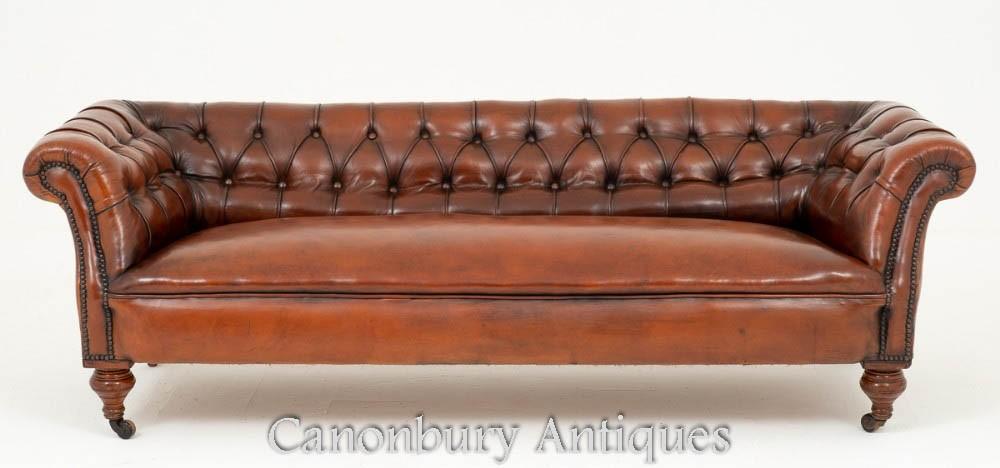 Viktorianische Chesterfield Sofa antike tiefe Knopfledercouch