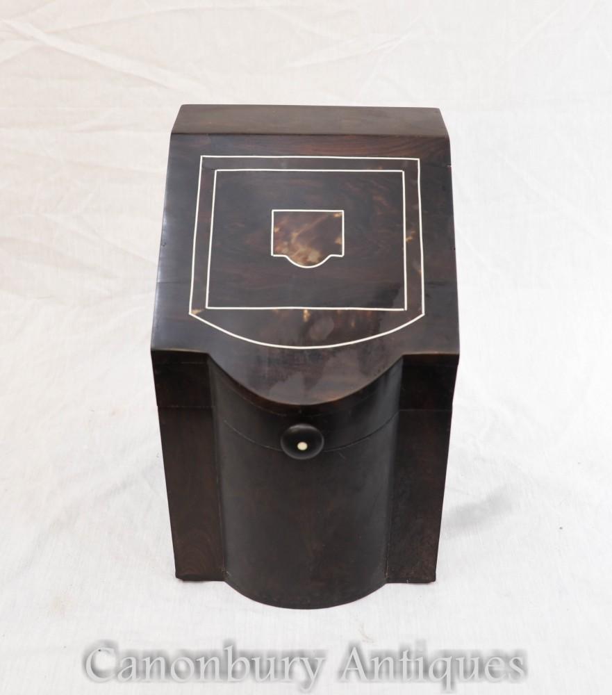 Antike portugiesische Besteckbox Coromandel 1880