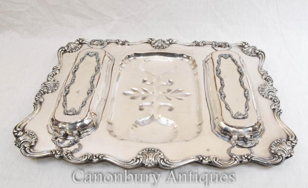 Antike viktorianische Silberplatte Tablett Servierplatte