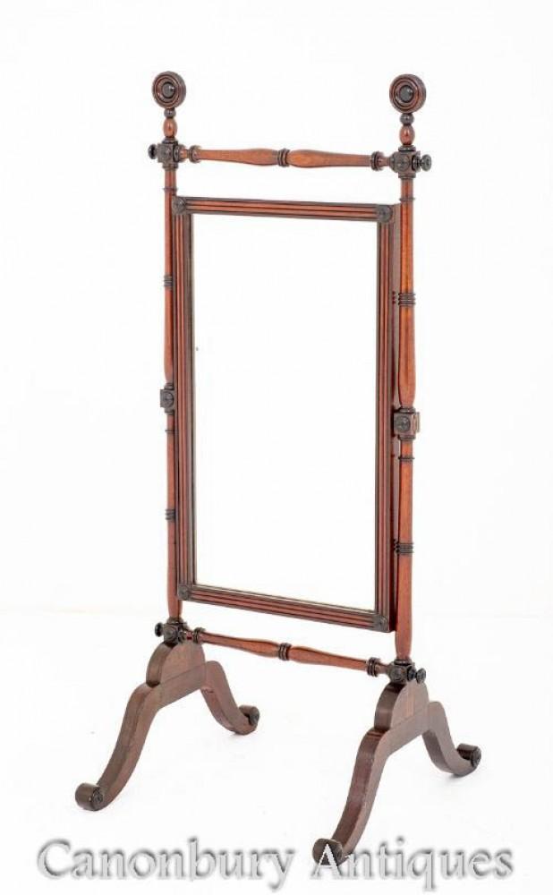 Regency Cheval Mirror Mahagoni Antike Umkleidekabine