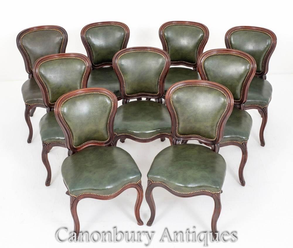 Set viktorianische Esszimmerstühle Antik Leder 1870