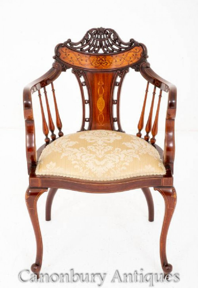 Sheraton Revival Arm Chair Mahagoni 1900