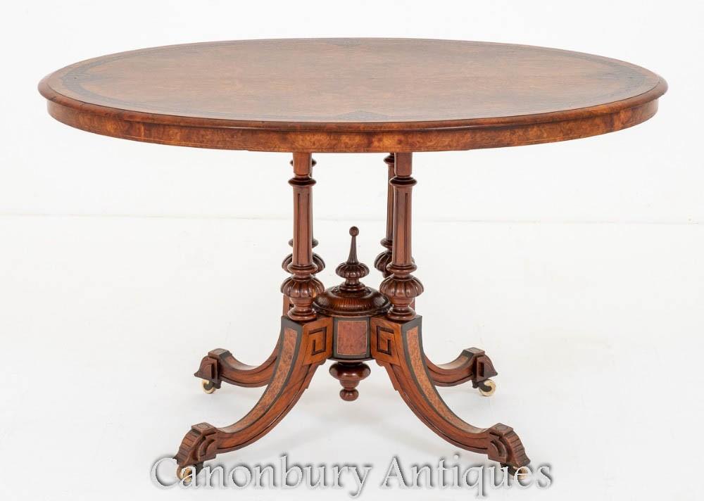 Victorian Center Table Burr Walnut 1860