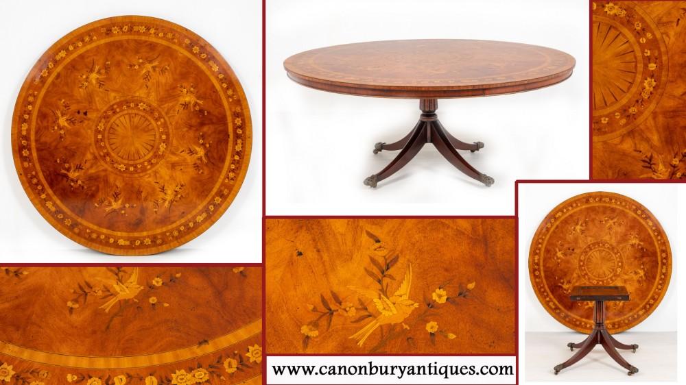 Antiker Mahagoni Esstisch - Intarsien Inlay Center Tische