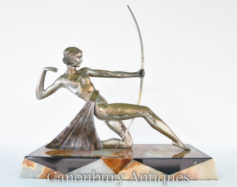 Art Deco Bronze Diana Die Bogenschützenstatue