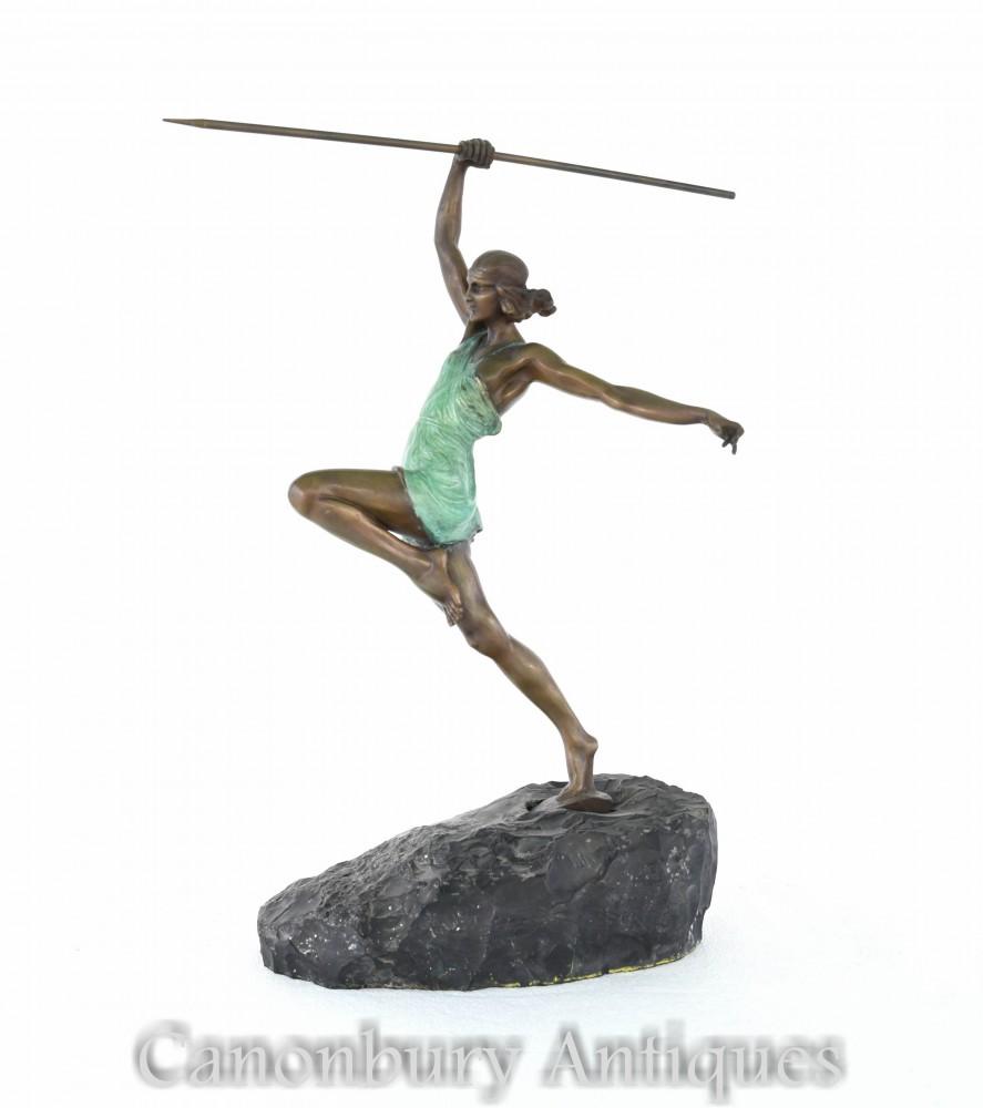 Art Deco Bronze Diana die Bogenschützenstatue von La Faguays