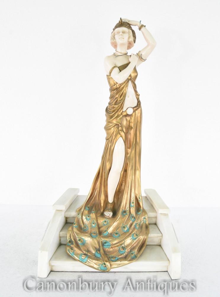Art Deco Bronze Grand Entrance Figur signiert Chiparus