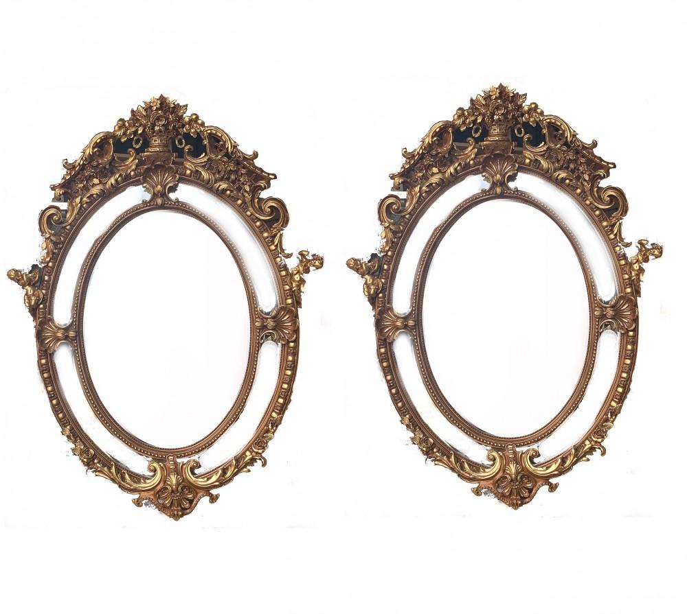 Paar große vergoldete Spiegel - Ovales Louis XVI Rokoko