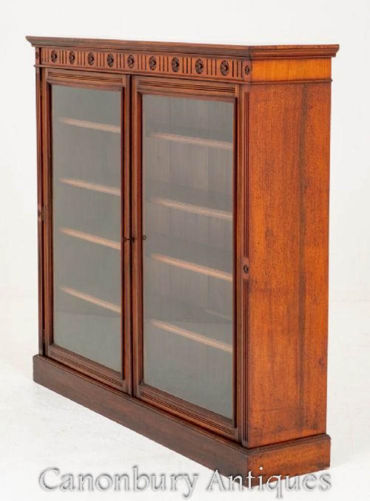 Victorian Bookcase Glazed Cabinet Antique Circa 1890