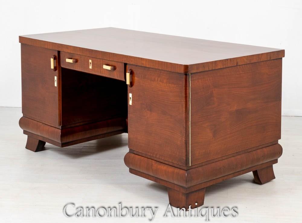 Vintage Art Deco Schreibtisch - Walnuss Schreibtisch um 1930